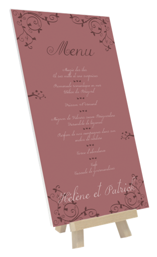 exemple menu mariage bapt me anniversaire ou communion sur toile tendue gr ce un porte menus. Black Bedroom Furniture Sets. Home Design Ideas