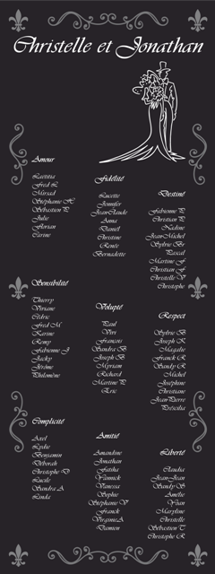 Plan de table mariage amour & emotions
