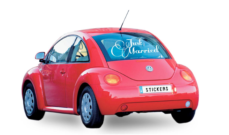 decoration voiture pour mariage avec un stickers. Black Bedroom Furniture Sets. Home Design Ideas